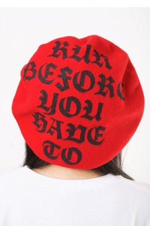 【セール】Run Before Logo Print Beret (Red)