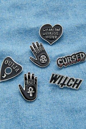 Heart & Letter Design Pin Badge Set