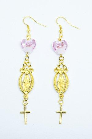 XTS Guadalupe Heart Glass Pierce (Pink)