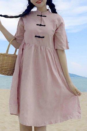【セール】3 China Button Casual S/S Mini Dress (Pink)