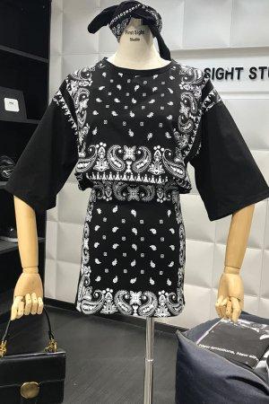 【セール】Bandana Paisley Rib Tight Skirt Mini Dress (Black)