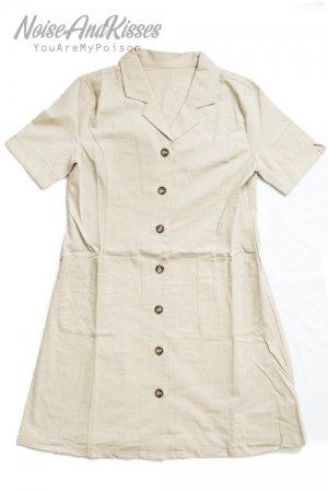 【セール】Open Collar Mini Dress (Beige)