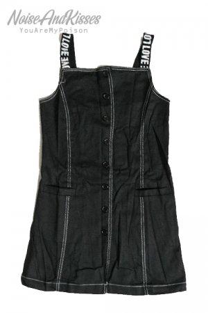 【セール】Love Logo Shoulder Denim Jumper Skirt (Black)
