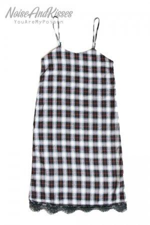 【セール】Tartan Check Lace Camisole Long Dress (White)