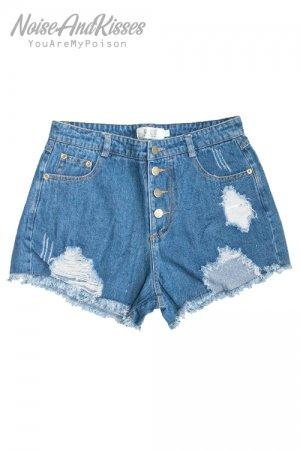 【周年セール】Damaged Denim Short Pants (Blue)