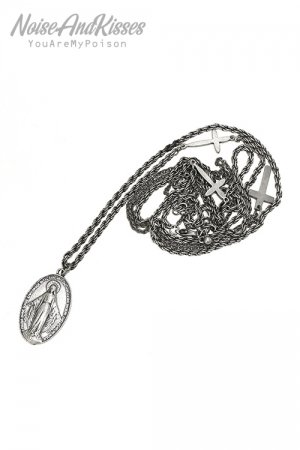 Guadalupe Cross Double Line Necklace (A.Silver)