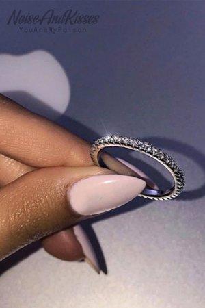 【セール】Stainless Steel Rhinestone Ring (Silver)