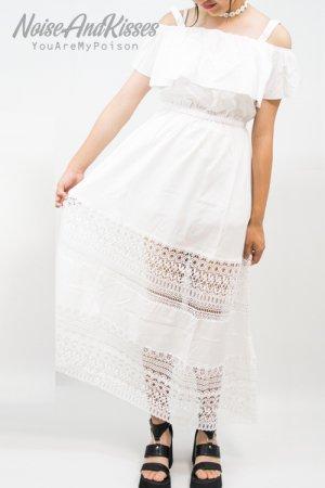 【セール】Off-Shoulder Lace Dress (White)