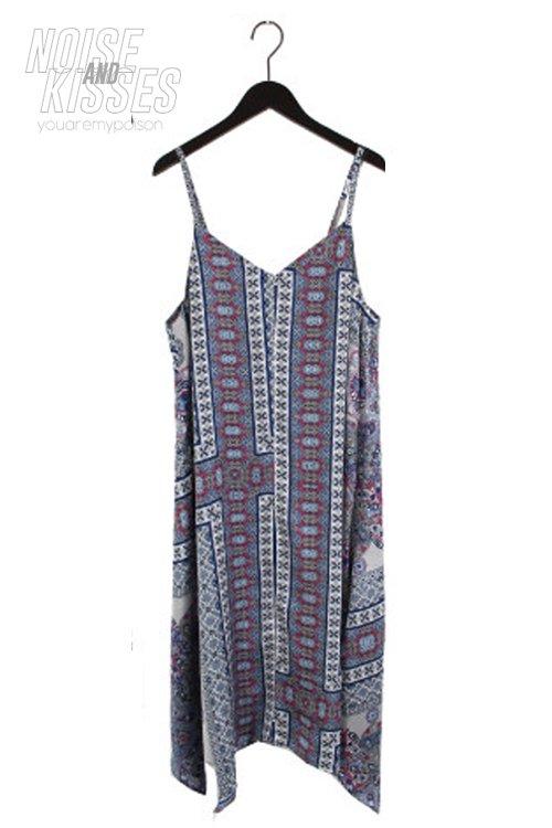 【セール】Scarf Asymmetry Camisole Dress (Gray)