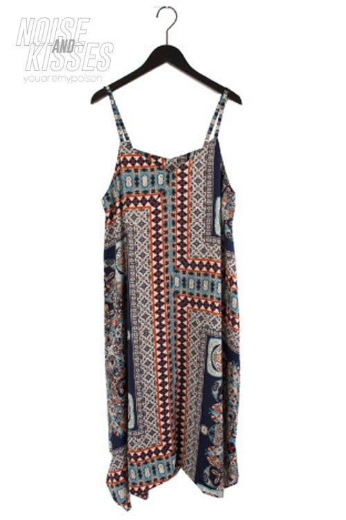 【セール】Scarf Asymmetry Camisole Dress (Navy)