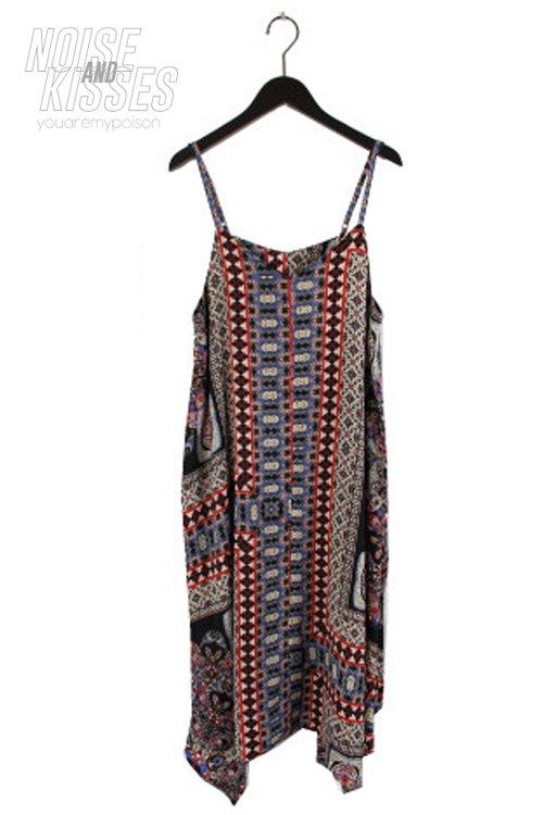 【セール】Scarf Asymmetry Camisole Dress (Black)