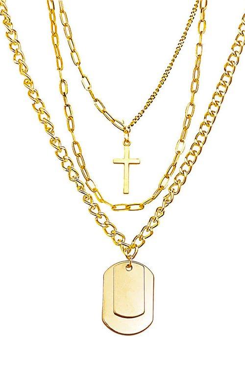 【セール】Cross 3 Line Chain Necklace (Gold)