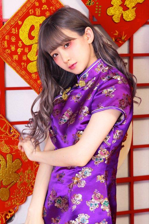 チャイナドレス ミニ丈 (Purple)