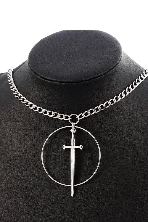Circle Sword Necklace (Silver)