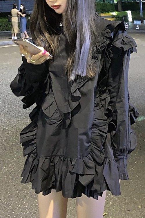 フリルミニワンピース (Black)