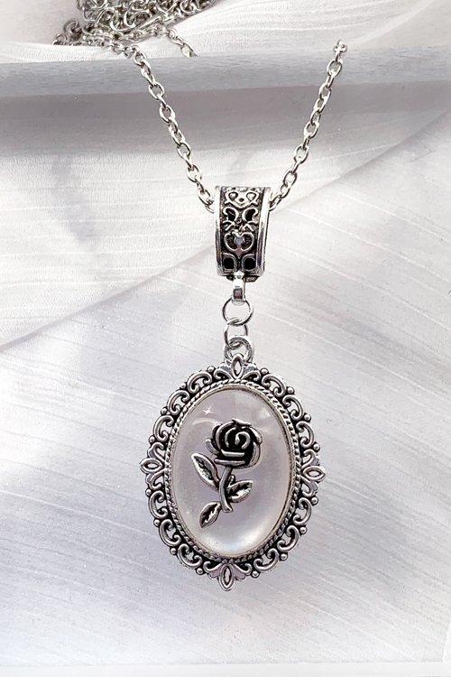 薔薇 カボション ネックレス (White)