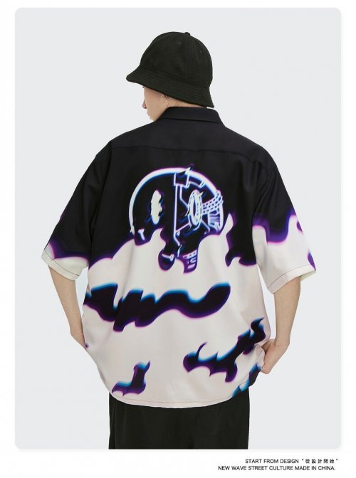 ネオンスマイル 半袖シャツ (Black)