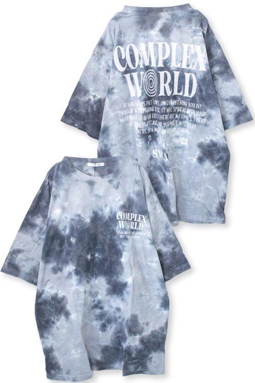 ユニセックス タイダイ染め ロゴ BIG 半袖Tシャツ (Black)