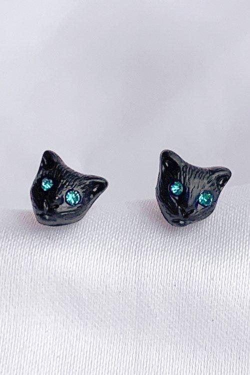 猫フェイス ポイントピアス (Black)