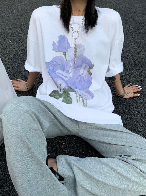 バラxカミソリ プリント 半袖Tシャツ (White)