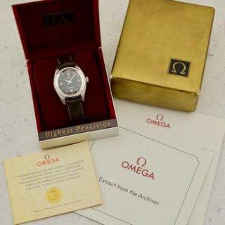C.1962 ヴィンテージ オメガ レールマスター 腕時計 Ω285 型番2914-6 スチール製 梱包箱と書類付き