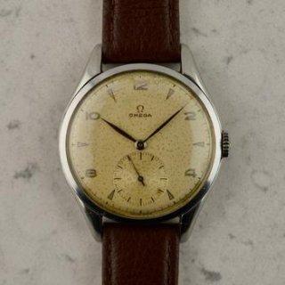 C.1946 ヴィンテージ オメガ ジャンボ カラトラバ 38.5mm スチール製 腕時計 型番2505 Cal.30T2 梱包箱付き