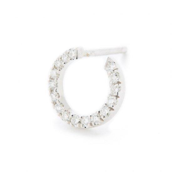 karma pierced earring / small circle×diamond