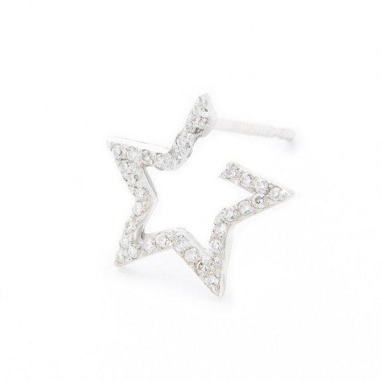 karma pierced earring / small falling star×diamond