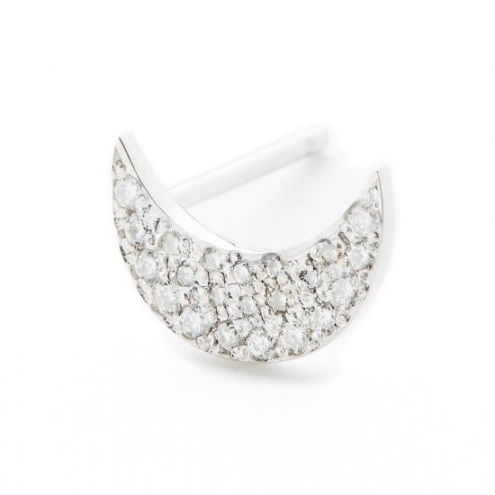 flat charm  pierced earring / crescent×diamond