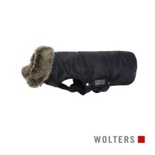 ファーカラーパーカー(毛皮の襟) 短頭種用 40cm ブラック