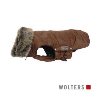 ファーカラーパーカー(毛皮の襟) 短頭種用 40cm ブラウン