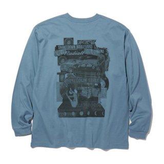 RADIALL  SHAKEDOWN BOULEVARD - CREW NECK T-SHIRT L/S BLUE