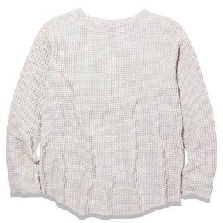 RADIALL BIG WAFFLE - BOAT NECK T-SHIRT L/S S.WHT