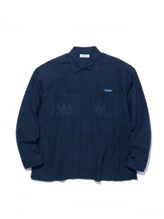 RADIALL SLOW BURN - OPEN COLLARED SHIRT L/S NVY