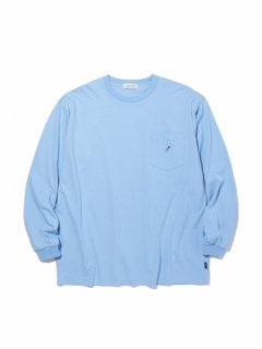 RADIALL ROSE CREW NECK POCKET LONGSLEEVE TEE LIGHT BLUE