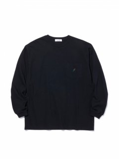 RADIALL ROSE CREW NECK POCKET LONGSLEEVE TEE BLACK