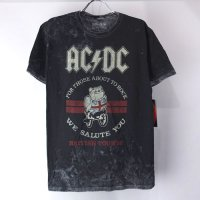 (M) AC/DC ムラ染めブラック Tシャツ (新品)【メール便可】