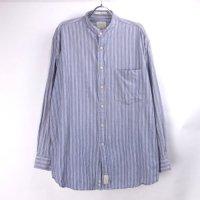 【30%オフ】 HAGGER  ノーカラー ストライプシャツ 【メール便可】(sale商品)