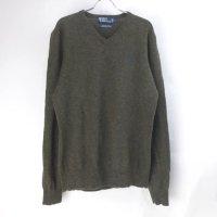 【20%オフ】 ラルフローレン  Vネック ラムウール セーター OLV(sale商品)
