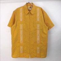 Guayabera ジップ キューバシャツ マスタード  L【メール便可】