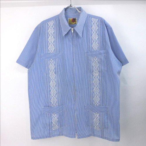 Guayabera ジップ キューバシャツ ストライプ  【メール便可】