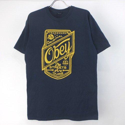 OBEY オベイ Tシャツ NVY 古着【メール便可】