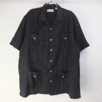 Caribbean リネン キューバシャツ ブラック XL【メール便可】