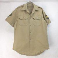 米軍 オフィサー カーキ 半袖 チノシャツ コットン 60's 【メール便可】
