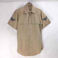 米軍   オフィサー カーキ  半袖 チノシャツ  コットンポリ 60's【メール便可】