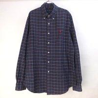 ラルフローレン  チェック ボタンダウン シャツ L リペア ビッグシャツ 【メール便可】