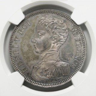 1831 FRANCE 5F MAZ-905 SILVER HENRY V PRETENDER  【MS63】