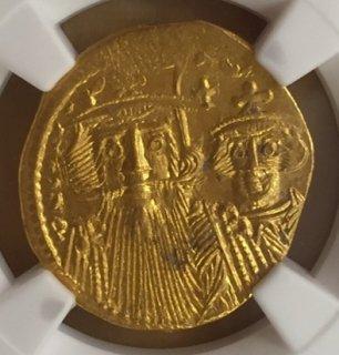 Bizantine 641-668 solidus AV Solidus(4.40g)obv Constans� + Const.IV rv Heraclius+Tiberius【MS】