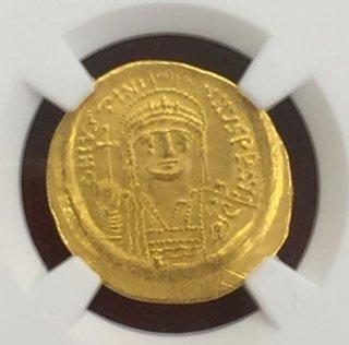 Justinian I,AD527-565AV Solidus(4.45g)obv facing bust rv Angel stg.Graffito【MSStrike 5/5Surface 2/5】