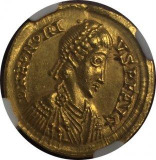 WESTERN ROMAN EMPIRE Honorius, AV Solidus (4.43g)  【Ch AU Strike:5/5 Surface:4/5】